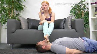 SpittingBitches - Make phone calls and spitting into slave's mouth