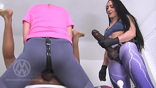 2 Mistresses With Huge Strap-Ons Peg His Ass - Nikki & Chloe