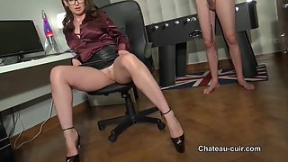 Cum on her posh leather skirt - part 1