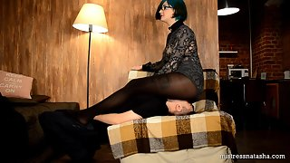 Liliana - Facesitting in Black Thick Pantyhose