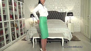 Boss lady in tight leather skirt