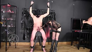 Nikki & Tiffany - Cock Caned Whipped & Flogged By 2 Dominas