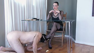 YoungGoddessKim - Shoe slave Gets Fed