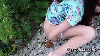 Femdom Scat - Summer! Alina walks and powerfully farts and shitting