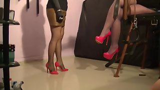 Mistress Andreea and Nicolle pantyhose domination with their toilet