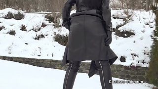 Leather tease in the snow