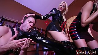 ClubDom - Nikki Brooks & Bella Ink - Slave Cum On Goddess Boots