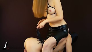 Tied and spanked slave before milking