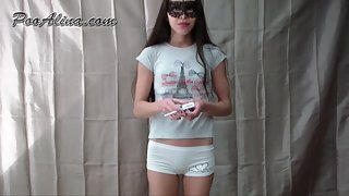Femdom Scat - Alina does gymnastics and pooping in white shorts