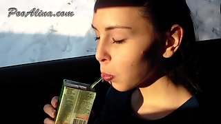 Femdom Scat - Young Alina eating and pooping in car