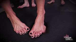 BrattyFootGirls - Mikayla Maria & Kate - Triple Facebox FootDomination