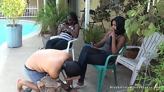 [Black Girls White Slaves] At a Black Womans Feet