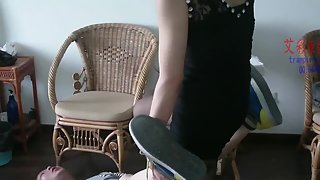 Asian Ballbusting and Footjob - AICAI