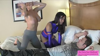 Psylocke and Honey Trap Ballbust a Villain